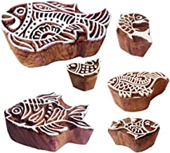 Pottery Printing Blocks Retro Fish Pattern Wooden Stamps (Set of 6)
