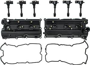 Left & Right Engine Valve Cover w/ Gasket & Ignition Coil Set For Nissan 350Z Infiniti FX35 G35 M35 3.5L DOHC