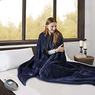 Beautyrest Heated Microlight to Berber Elect Electric Blanket with Two 20 Heat Level Setting Controllers, King, Indigo