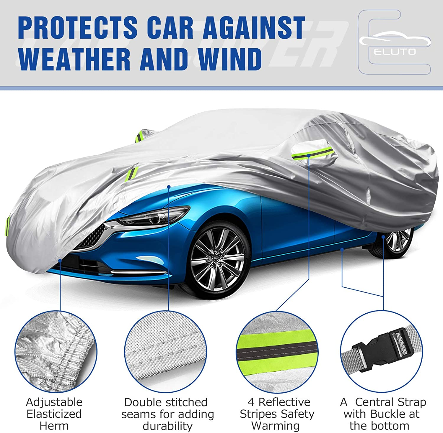 ELUTO Sedan Car Cover Waterproof All Weather 6 Layers Car Cover for Automobiles Outdoor Indoor Full Car Covers with Zipper Hatchback Car Cover UV Protection Vehicle Cover Up to 185/'/'L x 70/'/'W x 60/'/'H