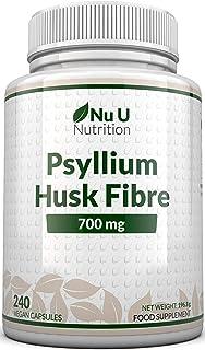 Psyllium Husk Capsules 700mg - 240 Vegan Capsules - 1400mg Per Serving - Natural Prebiotic Fibre Supplement from Plantago ...