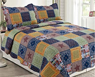 Sapphire Home 3 Piece Queen Size Bedspread Coverlet Quilt Bedding Set w/2 Pillow Shams, Multicolor Squares Patchwork Navy Yellow Green, Queen XJ147