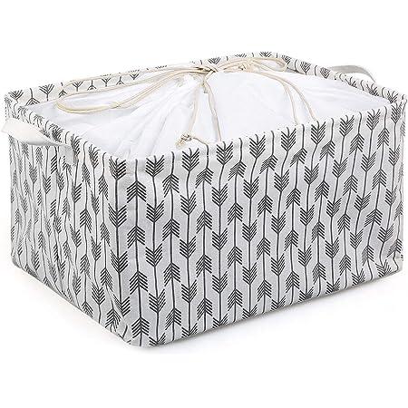 LEADSTAR Boîtes de Rangement en Tissu Panier de Rangement en Toile avec poignées et Fermeture à Cordon,Pliable Organiser Paniers pour Étagères Vêtements Jouets (Arrow White)