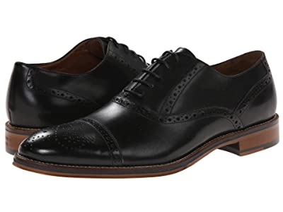 Johnston & Murphy Conard Dress Casual Cap Toe Oxford (Black Italian Calfskin) Men