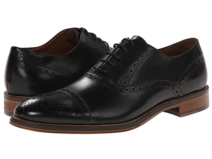 1920s Boardwalk Empire Shoes Johnston  Murphy Conard Dress Casual Cap Toe Oxford Black Italian Calfskin Mens Shoes $148.95 AT vintagedancer.com