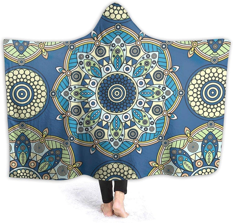 Dedication Blue Mandala Flower Hooded Thro Conditioning Blanket Air Max 44% OFF