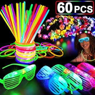 69 PCS LED Light Up Toys Glow in the Dark Party Supplies for Kids Teens Adults, 2019 LED Party Favor with 50 Finger Light 4 Flashing Glasses 4 Glow Bracelet 10 Led Ring Glow Party Supplies Party Gift