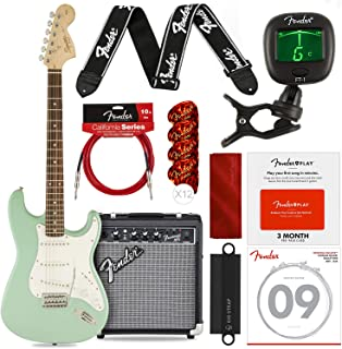 Squier by Fender Affinity Stratocaster Beginner Electric Guitar, Surf Green Complete Beginners Bundle with FRONTMAN 10G Amp, Fender Play Card, Strings, Picks & More