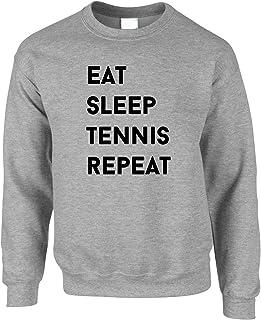 Tim And Ted Eat Sleep Tennis Repeat Hobby Sports Racquet Ball Net Wimbledon Slogan Tennis Court Singles Doubles Jumper Swe...