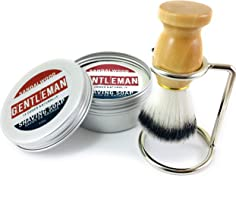 Natural Wet Shave Kit - Gentleman's Eco-Shave Sandalwood Shaving Puck in Tin plus Brush with Stand