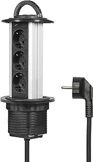 Elbe Socket para Mesa Empotrado, Multi-Socket de 3 Tomas de Corriente alemanas, Enchufe alemán, Cable de 1.5 m, Ideal para Oficina, Trabajo y Cocina_EL1803W