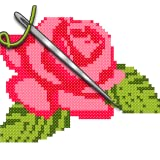 Flowers Cross Stitch - Paint by Number, Pixel Art , Sandbox Coloring Pages