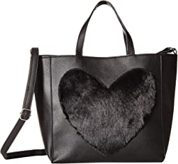 Faux Fur Heart Tote Bag