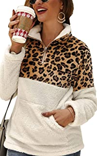 Womens Long Sleeve Half Zip Up Warm Fuzzy Leopard Print Patchwork Fleece Pullover Tops with Pocket for Winter