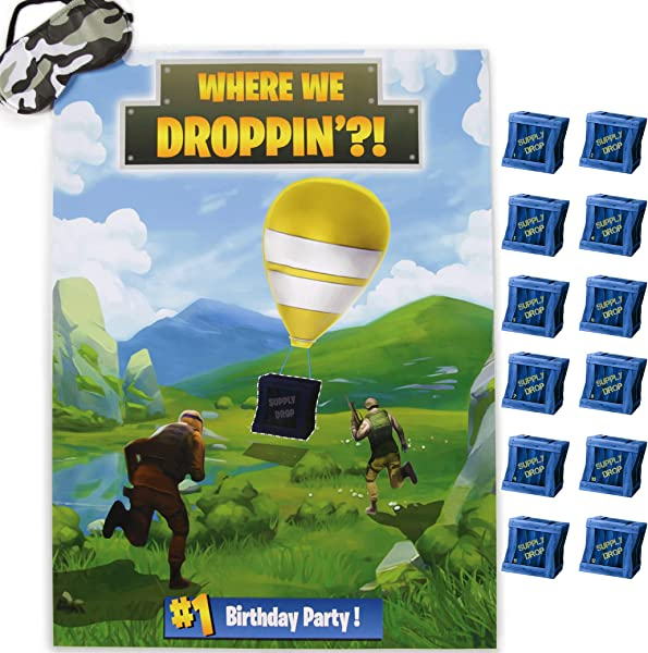 Bliss Co Pin The Supply Drop Party Game Large 21 X 28 Poster 24 Stickers Party Supplies And Favors For Boys