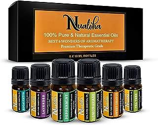 Nualoha Aromatherapy Top 6 Essential Oils Gift Set -100% Pure Bulgarian Lavender, Australian Tea Tree, Brazilian Sweet Orange &(Lemongrass, Peppermint, Eucalyptus) From Himalayan Reg.