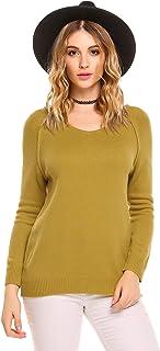 Zeagoo Women's Casual V Neck Soft Fleece Sweater Long Sleeve Pullover Knit Top
