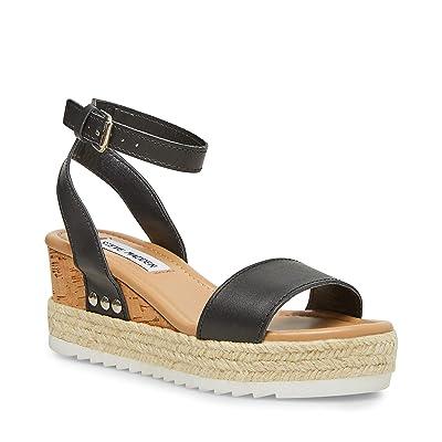 Steve Madden Jewell Wedge Sandal (Black Leather) Women