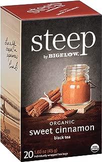 Steep by Bigelow Organic Sweet Cinnamon Black Tea 20 Count (Pack of 6) Organic Caffeinated Individual Black Tea Bags, for Hot Tea or Iced Tea, Drink Plain or Sweetened with Honey or Sugar