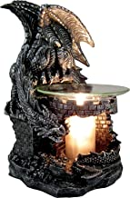 DWK 9-inch Fragrance of The Fierce Mythical Gothic Dragon Castle Guardian Wax Melt Oil Burner Aromatherapy Figurine Lamp Home Decor Accent, Antique Black Pewter Finish