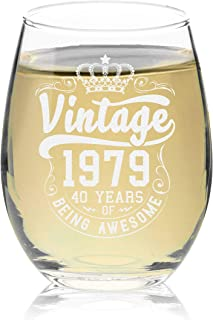 Veracco Crown Vintage 1979 40 Years Of Being Awesome Stemless Wine Glass 40th Birthday Gift For Him Her Forty and Fabulous (1979, Stemless Glass)