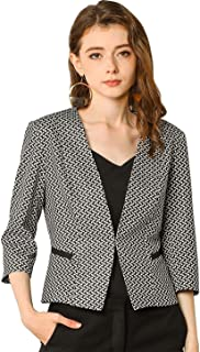 Allegra K Women's Houndstooth 3/4 Sleeves Collarless Work Office Jacket Blazer