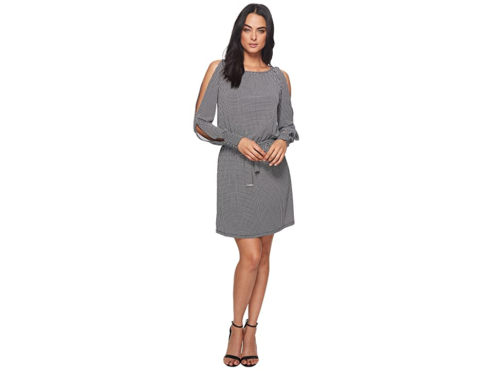 MICHAEL Michael Kors Mod Geo Slit Blouson Dress (Black/White) Women