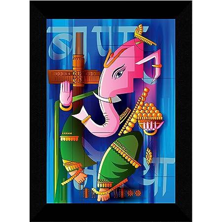 SAF Ganesha Modern Art multi-effect UV Textured Home Decorative gift item Framed Painting 10 Inch X 13 Inch SANFK30814