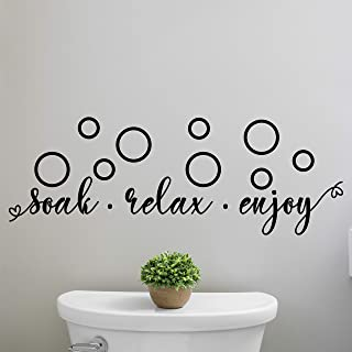 My Vinyl Story - Soak Relax Enjoy - Funny Bathroom Wall Decal for Home Bathroom Decor Family Quote Wall Art Word Sayings Sticker Sign Removable Vinyl 30x10.5 inches