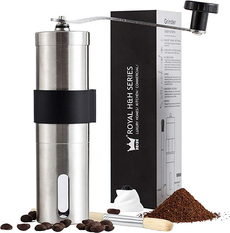 Royal H H Fine Manual Coffee Grinder Ceramic Burr Mill Portable Hand Held Conical Adjustable Size Fresh Whole Kopi Bean Grind Maker Heavy Duty Brushed Stainless Steel Extra Burr And Brush Set