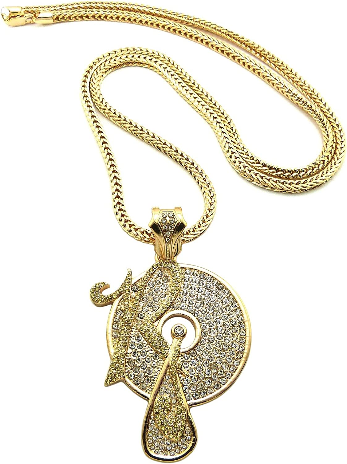 Crescendo SJ INC New Iced Out ROCAFELLA Pendant 4mm/36 Franco Chain Hip Hop Necklace XP931GY