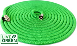 Heavy Duty 150 ft Green Expandable Garden Hose | All New Design - Lifetime Warranty | Nickel Plated Brass Fittings | Nozzle Included (150, Green)