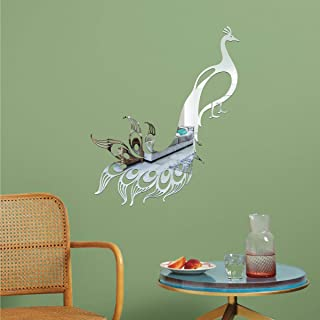 Best Decor Sweet Peacock Silver Code 943 Acrylic Mirror 3D Wall Sticker Decoration for Kids Room/Living Room/Bedroom/Offic...