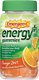 Emergen-C Energy+, with B Vitamins, Vitaminc C and Natural Caffeine from Green Tea (30 Count, Orange Zest Flavor, 1 Month ...