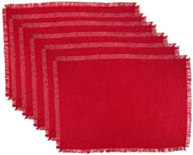 DII 100% Jute Rustic Vintage Placemat for Parties BBQ's Everyday & Holidays Use (Set of 6), Red