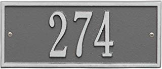 """Whitehall Personalized Cast Metal Address Plaque - Small Hartford Custom House Number Sign - 10.5"""" x 4.25"""" - Allows Special Characters - Pewter/Silver"""