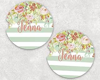 Monogrammed Car Coasters - Absorbent Sandstone - Mint Stripe Floral Drop (SET of 2)