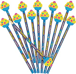 Happy Birthday Pencils with Cupcake Eraser Toppers - 12 ct
