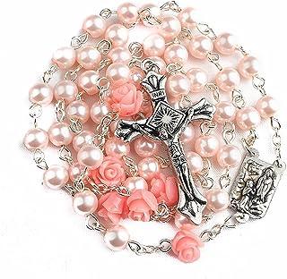 Nazareth Store Collier Rosaire Perle Rose Catholique 6pcs Notre Médaille Rose Lourdes & Cross NS