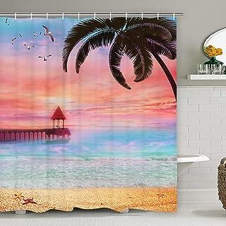 Ocean Scenery Shower Curtain with 12 Hooks, Beach Shower Curtain Palms Tree Sunset Shower Curtain Durable Waterproof Bathroom Shower Curtain