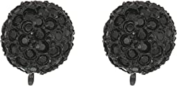 Black/Jet Pave Ball Clip Earrings