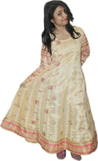 Lakkar haveli Indian Cotton Silk Mix Animal Print Dress Golden Color Women Fashion Long Plus Size