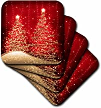 3dRose cst_35705_2 Elegant Christmas Sparkling Trees Red Soft Coasters, Set of 8