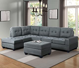 Harper & Bright Designs 3 Piece Sectional Sofa Couch Microfiber with Reversible Chaise Lounge Storage Ottoman and Cup Holders for Living Room (Grey Fabric)