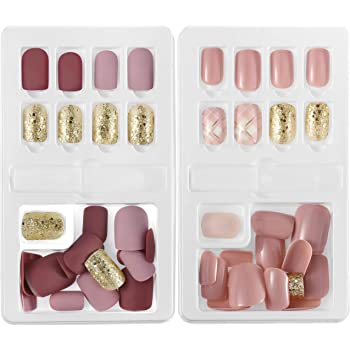 Künstliche Fingernägel, falsche kurze Nägel, 60 Stück, Nagelspitzen-Set, 12 Größen in 2 Boxen, komplett abdeckend, mit Feilen und Stiften, für Nailart-Studio, selbstgemachte Verschönerung