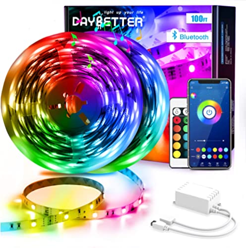 DAYBETTER Led Strip Lights 100ft (2 Rolls of 50ft) Smart Light Strips with App Control Remote, 5050 RGB Led Lights fo...