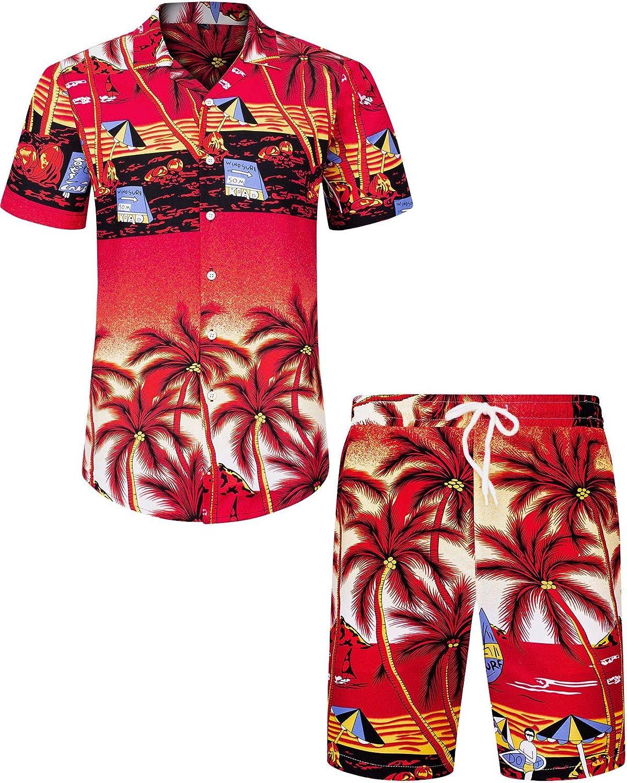J.Ver Men's Hawaiian Shirts Casual Button Down Short Sleeve Printed Shorts Summer Beach Tropical Hawaii Shirt Suits