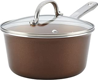 Ayesha Curry 10759 Home Collection Nonstick Sauce Pan/Saucepan with Lid, 3 Quart, Brown