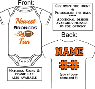 Personalized Custom Made Newest Broncos Fan Football Gerber Onesie Jersey - Baby Announcement Reveal or Shower Gift