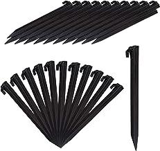 Relaxdays Haringen, set van 32, lichte tentharingen, zachte en zandige bodems, 31 cm lang, kunststof, grondanker, zwart